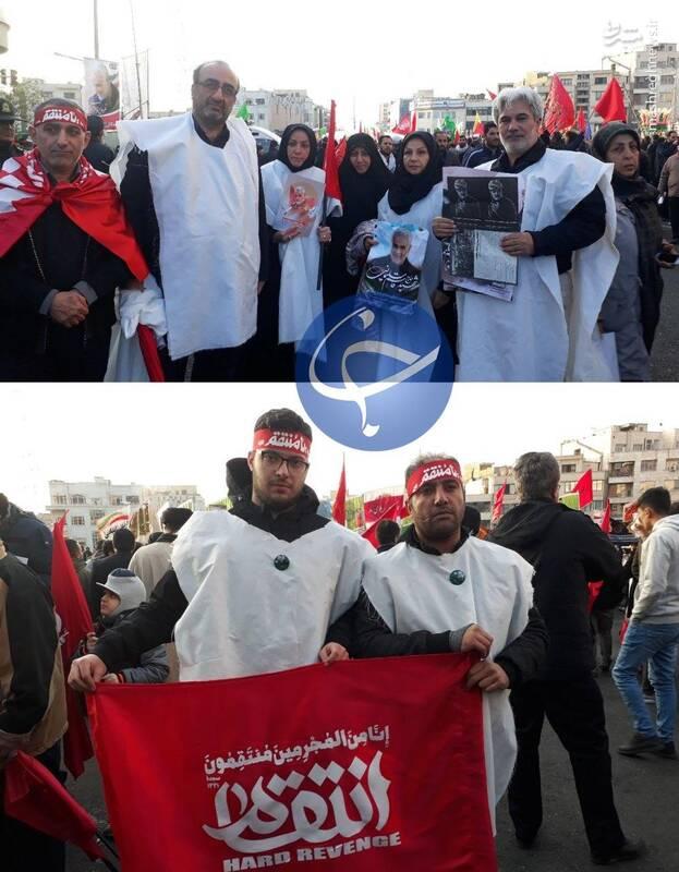 تصاویری از حضور مردم انقلابی کفنپوش تهران در مراسم تشییع سردار شهید قاسم سلیمانی