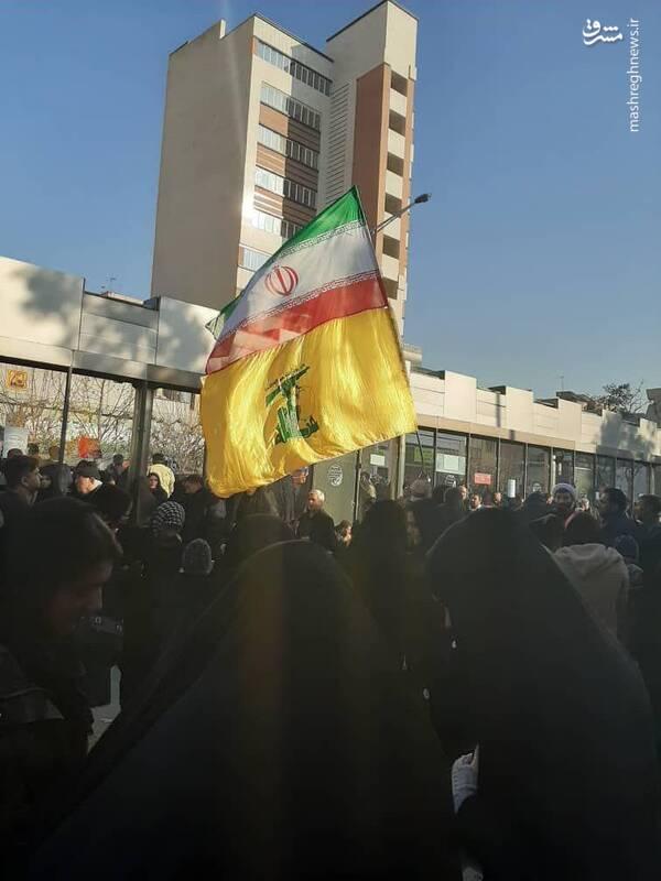 پرچم ایران و حزب الله در کنار هم