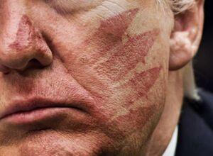 پوستر جدید سایت رهبر انقلاب درباره سیلی امروز به ترامپ