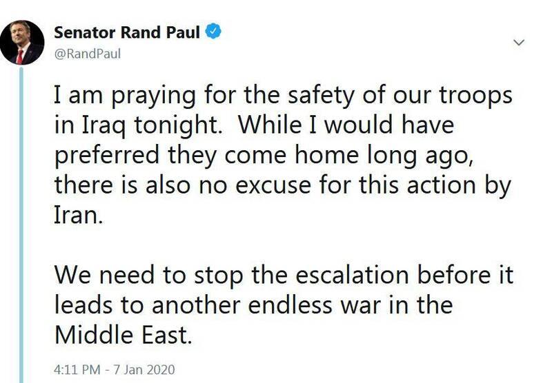 رند پال سناتور جمهوریخواه:  باید پیش از آنکه تنشها به جنگ بیپایان دیگری در خاورمیانه منتهی شود، تشدید تنش را متوقف کنیم