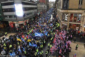 تظاهرات اسکاتلندیها با هدف استقلال از انگلیس