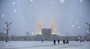 فیلم/ بارش برف در حرم امام رضا(ع)