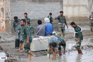 عکس/ بازدید سردار تنگسیری از مناطق سیلزده شرق هرمزگان