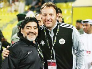 عکس/ مربی جدید شهرخودرو در کنار مارادونا