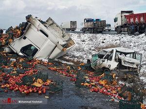 عکس/ تصادف زنجیرهای ۳۰ خودرو