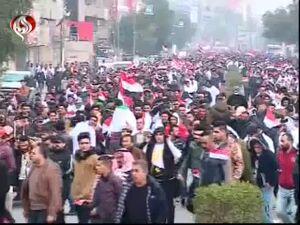 اولین تصاویر از تظاهرات ضد آمریکایی در عراق