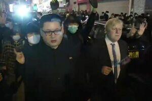 فیلم/ بدل بوریسجانسون و رهبر کرهشمالی در میان معترضان هنگکنگی!