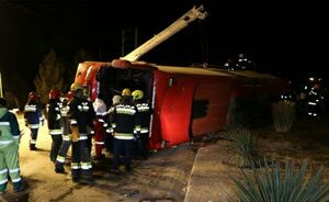 عکس/ واژگونی مرگبار اتوبوس در اصفهان