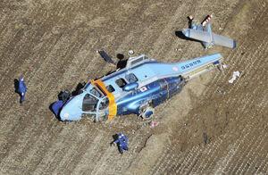 عکس/ سقوط هلیکوپتر حامل قلب پیوندی