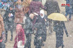 تصاویری از بارش برف در دمشق