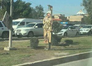 عکس/ نصب آدمک اعدام شده نظامی آمریکایی در بغداد