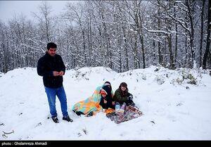 عکس/ بارش برف در ارتفاعات بهشهر