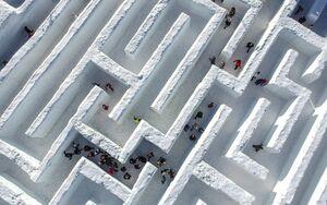 عکس/ بزرگترین پیچ و خم برفی جهان