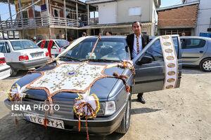 عکس/ ماشین عروس زوج ترکمن