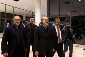 عکس/ استقبال رسمی از لاریجانی در فرودگاه بیروت