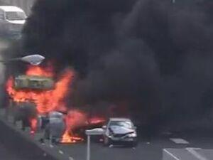 فیلم/ حادثهای که راننده ناشی کامیون رقم زد!