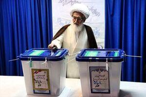 عکس/ آیتالله نوری همدانی رای خود را به صندوق انداخت