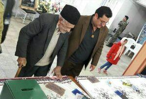 عکس/  حضور پیرمرد ۱۱۰ ساله در شعبه اخذ رای