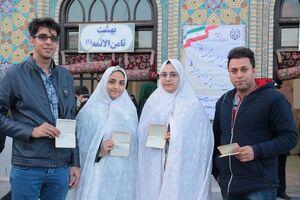 عکس/ عروس و دامادهای دانشجو در انتخابات