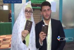 فیلم/ آغاز زندگی مشترک زوج دامغانی با حضور در پای صندوق رای