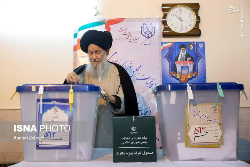 حضورآیتالله علوی گرگانی در پای صندوق رای در شهر قم - انتخابات ۹۸