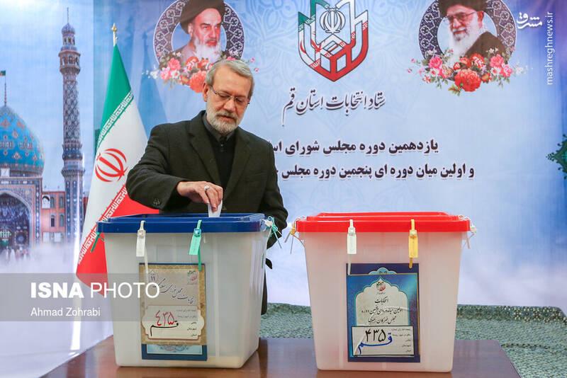 حضور علی لاریجانی، رییس مجلس در پای صندوق رای در شهر قم - انتخابات ۹۸