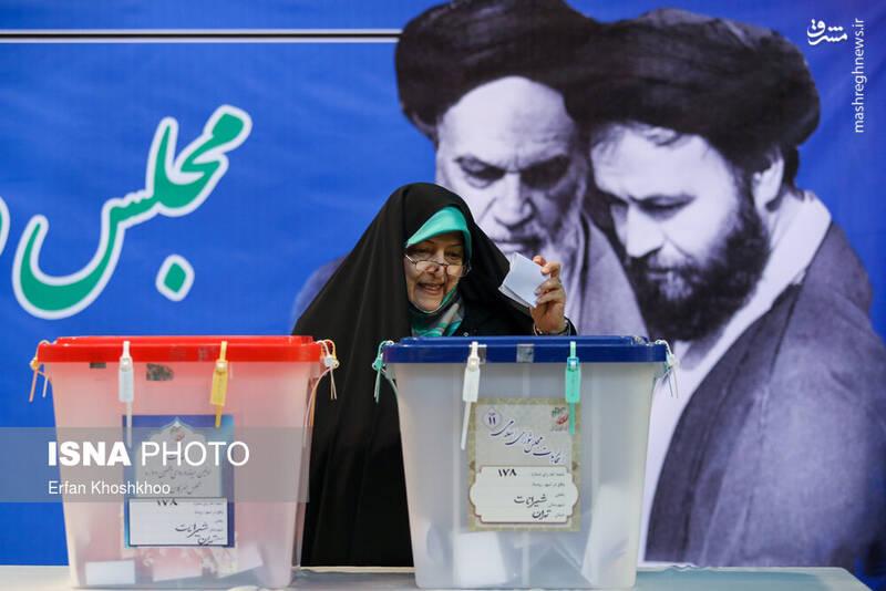 حضور معصومه ابتکار در پای صندوق رای حسینیه جماران - انتخابات ۹۸