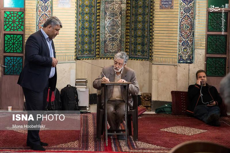 حضور غلامعلی حدادعادل در پای صندوق رای مسجد لرزاده - انتخابات ۹۸