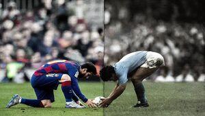فیلم/ مارادونا و مسی با پیراهن بارسلونا