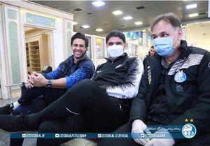 حضور استقلالیها در فرودگاه با ماسک