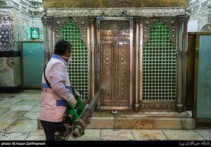 عکس/ ضدعفونی کردن حرم حضرت عبدالعظیم حسنی(ع)