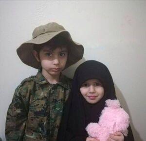 تصویری از فرزندان شهید مدافع حرم سید علی زنجانی