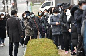 عکس/ صفهای طولانی مردم سئول برای خریدن ماسک