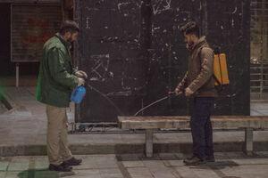 عکس/ ضدعفونی محله بلوار فردوس توسط هیئتیها