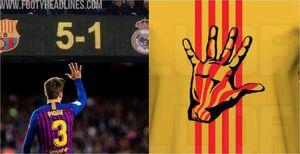 پیراهن جنجالی با پرچم کاتالونیا و دست پیکه +عکس