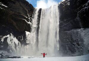 آبشار Skógafoss در Skógar، ایسلند