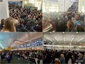 عکس/ معطلی مسافران در فرودگاههای آمریکا