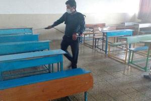 مشق ایثار و جهاد دانشآموزان بسیجی/ از دوخت ماسک تا ضدعفونی مدارس و معابر - کراپشده