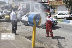 عکس/ ضدعفونی کردن معابر شهر زابل
