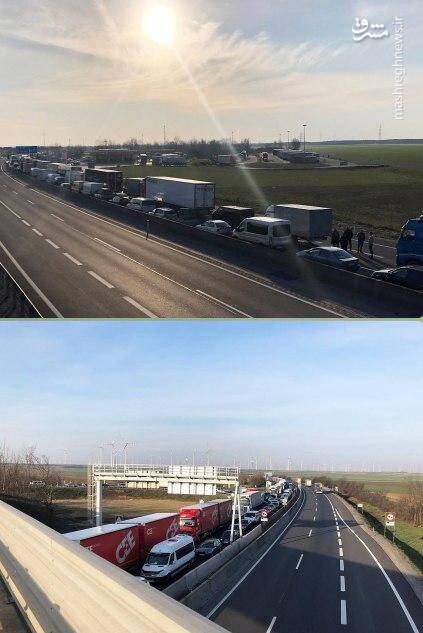 تصاویری از صف طولانی خودروها و کامیون ها در مرز بین مجارستان و اتریش