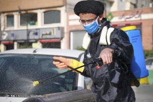 ضدعفونی معابر شهری تهران توسط طلاب