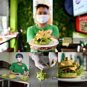 عکس/ پخت برگر به شکل ویروس کرونا