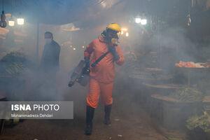 عکس/ ادامه روند عملیات ضدعفونی معابر شیراز