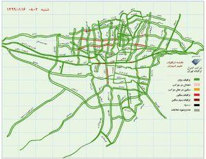 نقشه ترافیکی امروز تهران+عکس