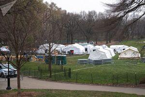 عکس/ برپایی بیمارستان ویژه کرونا در پارک