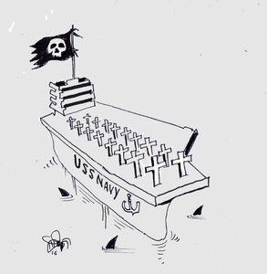 کاریکاتور/ اخراج فرمانده از ناو کرونابر آمریکایی!
