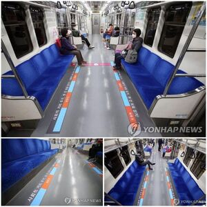 شیوه فاصلهگذاری مسافران مترو در کره جنوبی