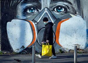 عکس/ نقاشی دیواری با موضوع کرونا