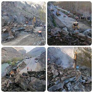 عکس/ ریزش شدید کوه در جاده چالوس