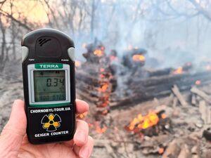 عکس/ آتش سوزی در نزدیکی نیروگاه چرنوبیل